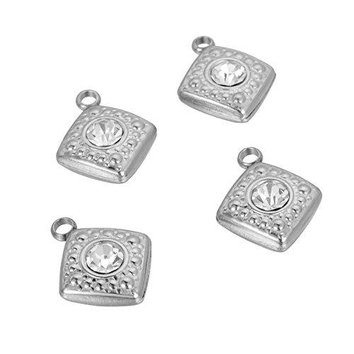 Shengyaju - 8 colgantes de acero inoxidable con diamantes de imitación, 15 x 12 mm, color plateado