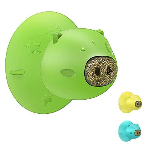 Zeattain ペットおもちゃ 噛むおもちゃ 猫 おもちゃ 歯磨きおもちゃ おもちゃの吸盤 猫歯科治療 歯のクリーニング 猫歯ブラシリラックス ペット用品 ペットのおもちゃ 耐久性 安全で無害 2つのクッキー 緑 …