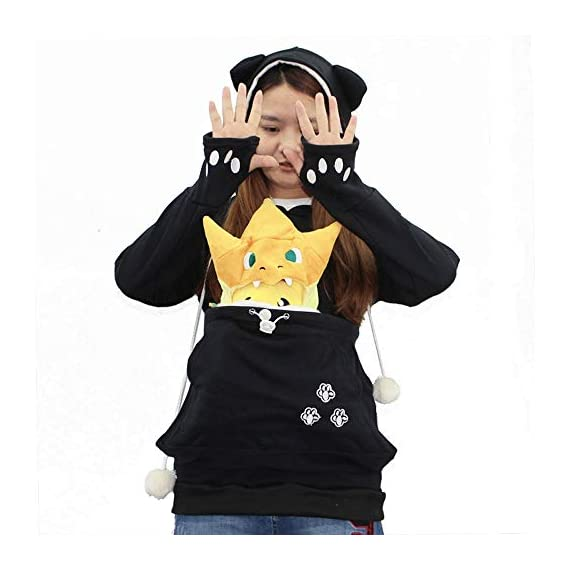 Sweatshirt womens kyleon kangaroo pet dog cat holder carrier coat pouch large pocket hoodie top 5 🐱fun pet hoodie - the large pouch of this women shirt is good for holding a small dog or cat anywhere. It is not only a ideal tool for helping you to carry small pets like chihuahua or kittens around and socialize, but also helping to keep your hands free! 🐱special design - cat ears on the hoodie; pom-poms balls draw strings; big pocket for pokemon plushies and snacks; front pocket for cell phone and hands; cat paw sleeves with thumb holes material 🐱comfort material- 65% polyester,35% cotton. Soft, elasticity, stretchy, comfortable, breathable, skin-friendly, stretchy and lightweight,🐱convenience washing - the women shirt is humanized designed because the inside pocket liner can be removed and washed separately. 🐱perfect gift - makes a fun halloween costume idea. The women hoodie is a little thin that it is very suitable to wear all year round. In winter, it's a good idea to wear with t-shirt underneath. Great gift for a cat lover and cat who is spoiled and christmas. Snuggly. 🐱occasion:suitable for casual,party, work, date, school, sports, vacation, street wear or casual everyday wear, casual style, relaxed fit, pullover hoodie sweatshirt sweater for women, ladies, juniors, teen girls.