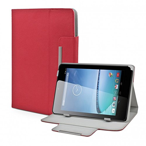eFabrik Universal Tablet Tasche Hülle für Hisense Sero 7+ (7 Zoll) Schutztasche Zubehör Schutzhülle mit Aufsteller in hochwertiger Leder-Optik rot