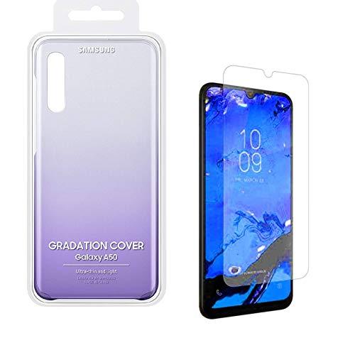 Samsung Carcasa para Galaxy A50 con protector de pantalla ZAGG A50, 2 unidades, color violeta