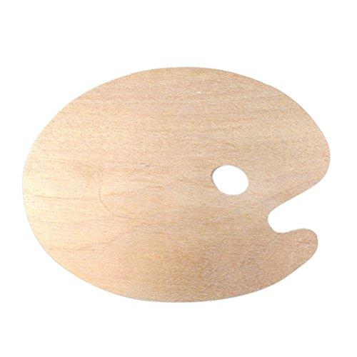 ULTNICE Paleta de pintura de madera para pintura al óleo con orificio para el pulgar; para pintura acrílica, acuarela, pintura al óleo, forma ovalada