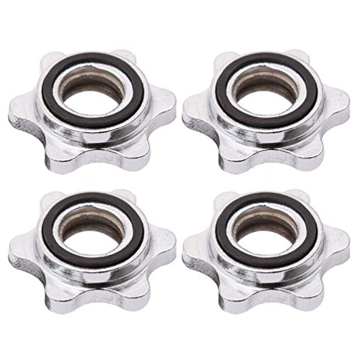 NOBRANDED 4 PCS Hex Nut Anti-Slip 25mm Standard Barbell Spin-Lock Collars Screw Clamps Dumbell Weight Lifting