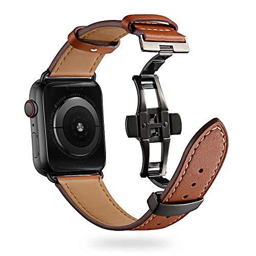 Firsteit Compatible con Apple Watch Band 38 mm, 40 mm, 42 mm, 44 mm, correa de repuesto de piel para iWatch Series 6/5/4/3/2/1/SE (cierre marrón + negro, 38 mm/40 mm)