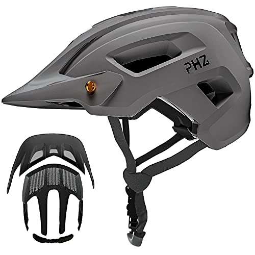 PHZ. Adult-Men-Women Mountain Helmet with Light - Mountain Road Bike Bicycle Helmet with Replacement Pads & Detachable Visor (Matte Grey, M(21.6-22.8 in/55-58cm))