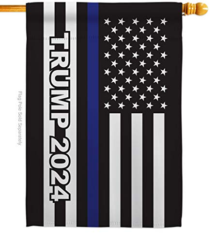 Trump Flag 2024 Thin Blue Line House Flag Patriotic Vote President Democrat Republican Tea Party United State American Election Banner Small Garden Yard Gift Double-Sided, Made in USA