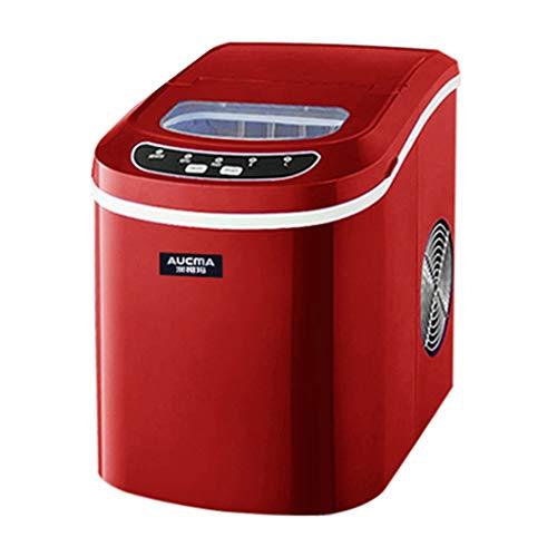 WHJ-Ice maker MáQuina Fabricadora de Hielo para Su Hogar MáQuina de Hielo Casa PequeñA Tienda de Té Comercial 15 Kg. Mini Mesa de Hielo Redonda de Sobremesa con Hielo Rojo
