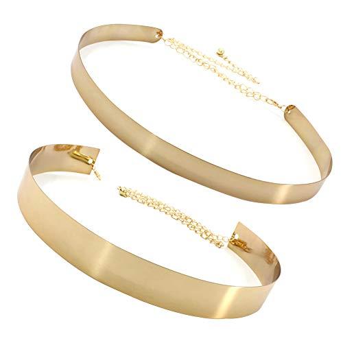 ANSUG 2 piezas Mujeres Cinturón de cadena de cadena de metal dorado (ancho 2 cm + 3,5 cm) Cintura brillante ajustable Cintura de placa de metal de moda Accesorios decorativos Cinturón de vestir