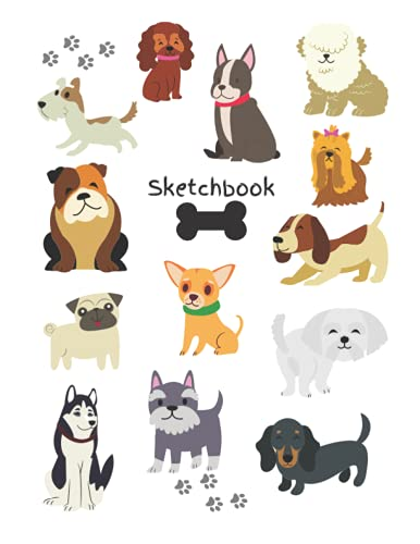 Sketchbook: Blank Pages, Dog Theme Cover