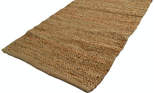 Designs Emporium Natürlicher Jute-Teppich, handgefertigt, flach, geknotet, Dhurrie, groß, umweltfreundlich (60 x 180 cm)