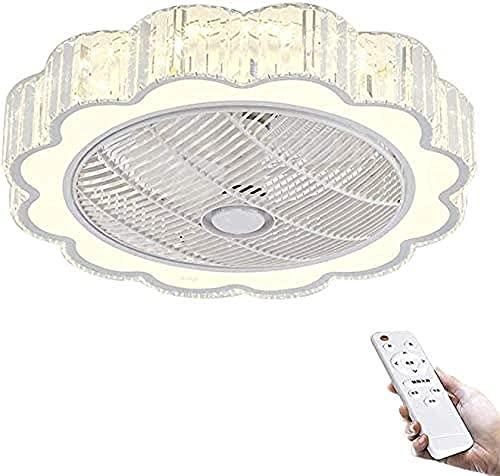 Los fanáticos del techo de cristal con lámparas LED, remoto Luces de fanáticos de techo modernos regulables, ventiladores de iluminación de techo de velocidad de viento ajustables para sala de estar