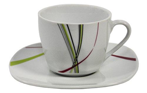 Kaffeetassenset - 4 x tasses à café de 20 cl et 4 soucoupes 14,5 cm-fashion
