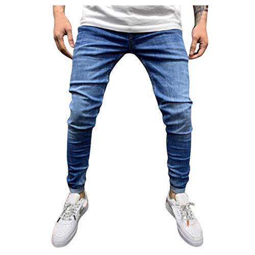 Vectry Pantalones Hombre Casual Letra Suelta Cordón Sólido Cintura Elástica Pantalones Largos de Mezclilla Casual Pantalones Trabajo