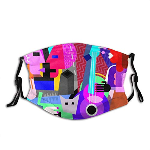Face Cover Picasso The Dancing Couple and Woman Playing Guitar Fine Dance Abstract Cubism Balaclava Unisex Reusable Windproof Anti-Dust Mouth Bandanas Outdoor Camping Motorcycle Running