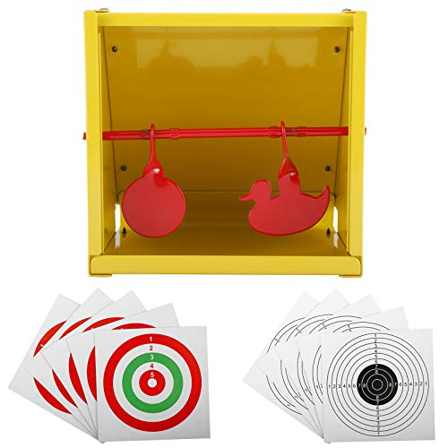 Sparkfire Metal Pellet Trap Target, Paper Target and Resetting Metal Silhouettes Shooting Targets for Pellet Gun Airsoft