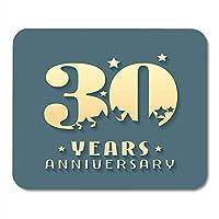マウスパッドのお祝い広告30周年記念シンボルグラフィックデザイン30歳の誕生日の式典ノート、デスクトップコンピューターマウスマット、オフィス用品のマウスパッド