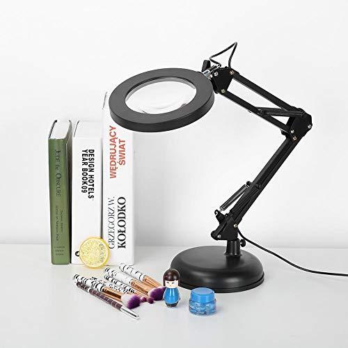 Lámpara de aumento LED, lámpara de aumento de escritorio LED, atenuación continua, rotación de 360 °, ajuste de brillo de 5X10 engranajes para salón de belleza