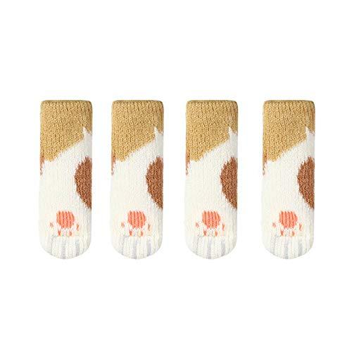 Tianlun Calcetines para piernas de Silla, Protector de Piso, 4 Piezas, diseño de Pata de Gato Lindo, Calcetines elásticos de Punto para Muebles, Calcetines para piernas de Silla, Protectores de Piso