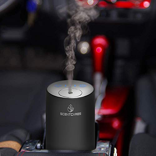Scentcares Molecular Grade Aromatherapy Diffuser,Nebulizing essential oil diffuser,essential oil nebulizer,Car Aroma Diffuser,Portable Shape Waterless Design,No Heat,USD Charge,Battery Powered,Black