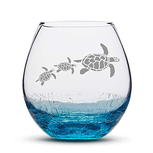 Beach Wine Glass for Sand Sea Turtle Stemless Handmade Etched Crackle Teal Wine Glass Fathers Day Gift Idea