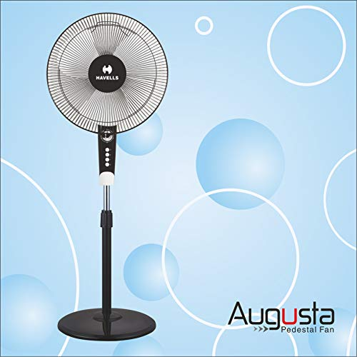 Havells Augusta 400 MM Pedestal Fan ( White and Black) with Timer