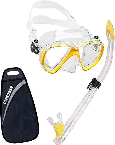 Cressi Ranger Snorkelset met snorkel en duikbril, waterdicht duikmasker, anti-condens, anti-lek van gehard glas, met 3-kanaals Premium Dry snorkel voor volwassenen
