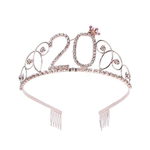 Frcolor Corona per Compleanno 20 Anni Cerchietto Diadema Principessa Donna Tiara Strass Cristallo con Pettine (Oro Rosa)