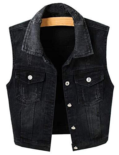 LifeShe Womens Vintage Sleeveless Denim Vest Jackets Coats Black (Black, L)