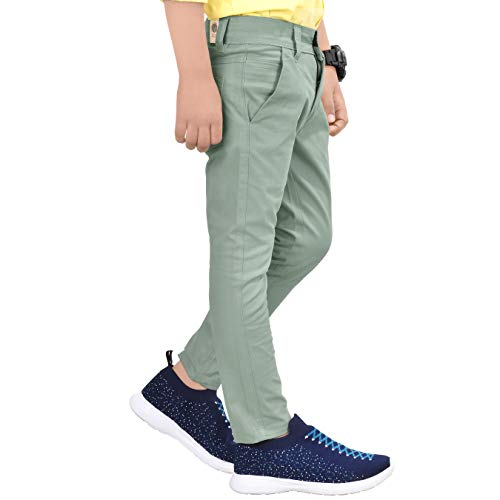 Made In The Shade Boy's Slim Fit Solid Chino Trouser with Adjustable Waist Elastic, 100% Cotton, Light Green