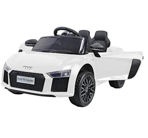 ES-TOYS Kinderfahrzeug - Elektro Auto Audi R8B - lizenziert - 12V7AH Akku und 2 Motoren- 2,4Ghz + MP3 + Leder + Eva (Weiss)