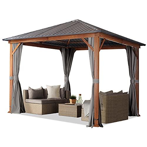 Gartenpavillon 3x3 m Holzoptik, Stahldach Hardtop 4 Seitenteile in grau
