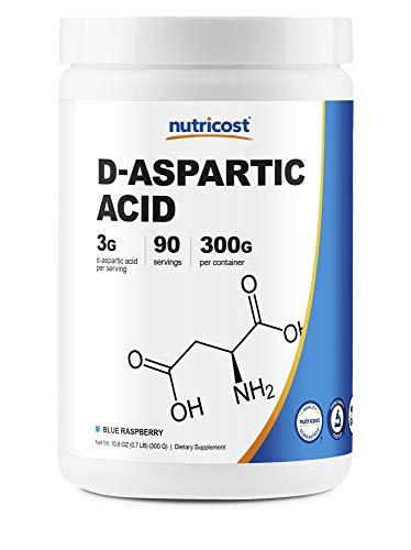 Nutricost D-Aspartic Acid (DAA) Powder 300G (Blue Raspberry) - High Quality D-Aspartic Acid