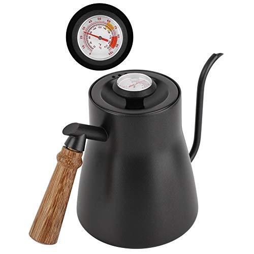 850 ml koffieketel met zwanenhals en houten handgreep, roestvrij staal met/zonder thermometer, gieter, uitgebreide gietijzeren design, anti-slip bodem, matzwart Met thermometer.