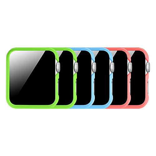 [3 Color Pack] Fintie Case Compatible with Watch 38mm, Slim Lightweight Polycarbonate Hard Protective Bumper Cover Compatible with All Versions 38mm Series 3 (2017), Series 2 1- Multi Color C