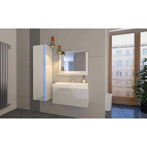 Azura Home Design - Mueble para cuarto de baño, color blanco lacado