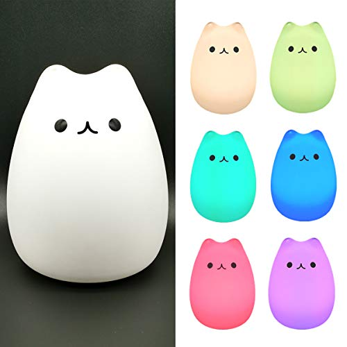 LED Night Light,Portable Silicone LED Night Lamp,USB Rechargeable Children Tap Light,Sensitive Touch Control Light with Warm White and 7-Color Breathing Modes for Kids, Baby, Children (Cat Design)