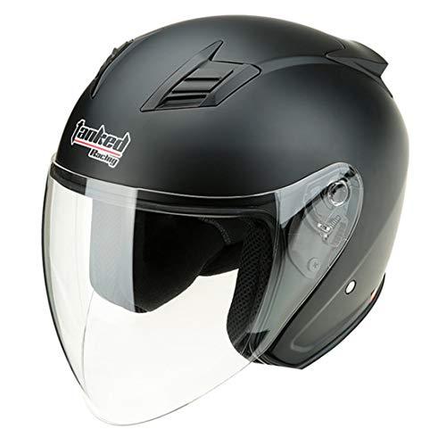 VCOROS Motorcycle Half Face Helmet DOT Approved Motorbike Cruiser Chopper Open Face Helmets (Matte Black,M)