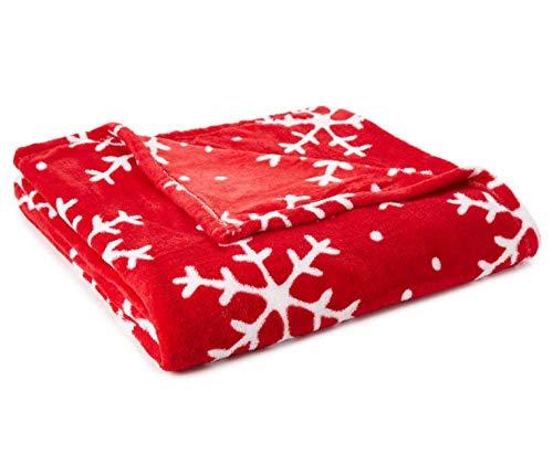 Just Home Fun Print Soft Cozy Lightweight 50 x 60 Fleece Throw Blanket (Red Snowflake)