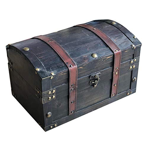 Truhen Vintage Koffer Koffer Antik, Antiker Stil Schatztruhe Mit Schloss Aufbewahrungsbox Holz Requisiten Dekoration Cafe Restaurant, 2 Arten GGYMEI (Color : C, Size : 32x22x22cm)