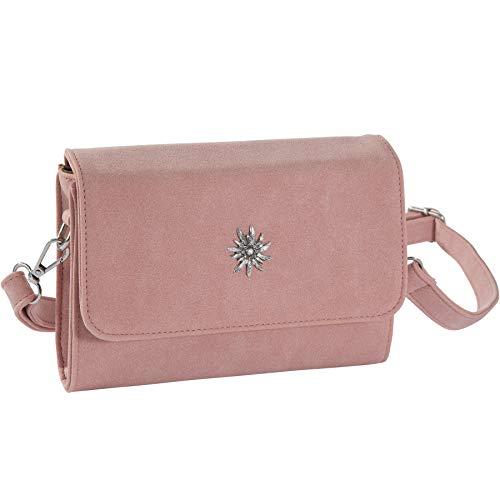dressforfun 900648 Damen Trachten Handtasche Edelweißkönigin, Schicke Trachtenhandtasche in Wildlederoptik (Rosa   Nr. 303252)