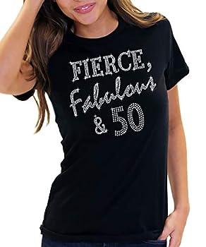 Womens 50th Birthday Shirts - Crystal Fierce Fabulous & 50 T-Shirt - 50th Birthday Tee Shirts - X-Large - Black Tee FF50 RS  blk/XL