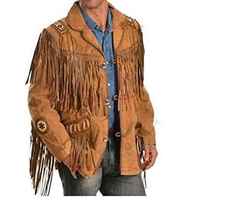 Echte Cowboy Jas Inheemse Amerikaanse Cowboy Fringed Wear Jassen Mannen Stijl Suede Fringe Winter Jas Draag Winter Shirt, Kleding, Kralen West-Leer Jas te koop GCj01