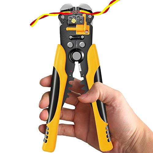 Wire Stripper, Self-Adjusting 8 Inch Cutter Crimper, 3 in 1 Electrical Wire Stripping Tool
