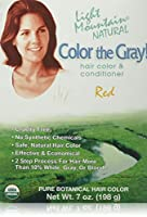 Light Mountain, Color The Gray! Natural Hair Color & Conditioner, Red, 7 oz (198 g)