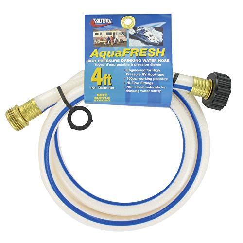 Valterra AquaFresh High Pressure Drinking Water Hose, Water Hose Hookup for RV - 1/2' x 4', White