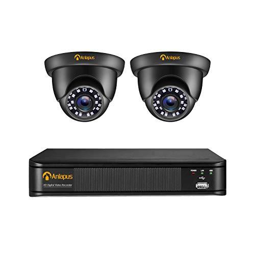 Anlapus Outdoor 1080P Videoüberwachung System 4CH H.265+ 1080P DVR Recorder mit 2X 2MP Dome Überwachungskamera Set ohne Festplatte, 20M IR Nachtsicht, Schwarz