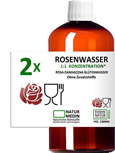 ROSENWASSER 2x 1000-ml, LEBENSMITTEL-QUALITÄT, 100% naturrein, 1:1 Konzentration, Rosa damascena Blüttenwasser, essbar, ohne Zusatzstoffe, PET Braunflasche, 2000-ml (5-l), nachhaltig