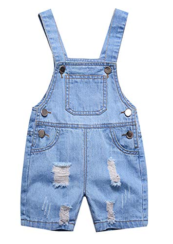 Happy Cherry Baby Sommer Denim Kurz Hose Shorts Jeans Latzhose Baumwolle Loch Loose Overall