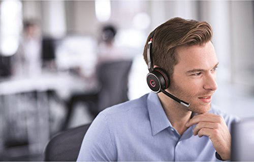 Jabra Evolve 75 UC Wireless Headset, Stereo – Includes Link 370 USB Adapter – Bluetooth Headset with World-Class Speakers, Active Noise-Cancelling Microphone, All Day Battery