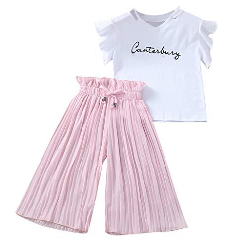 Xmiral Kinder Kinder Mädchen Kurzarm Outfits Brief T-Shirt + Breite Beinhosen Baby Sommer Tops Hosen 2er Kleidung Set(Rosa,13-14 Jahre)